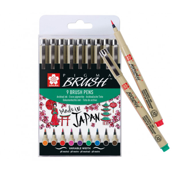 Pigma Brush Pen Set 9pz....